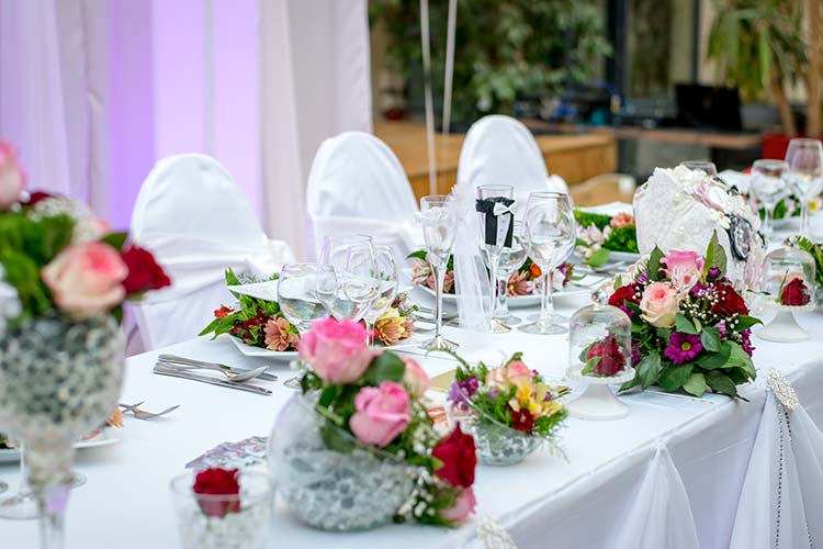 Custom Wedding Table with Floral Arrangements