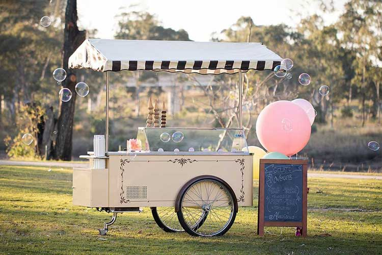 Vintage Gelato Cart in park with bubbles and balloons