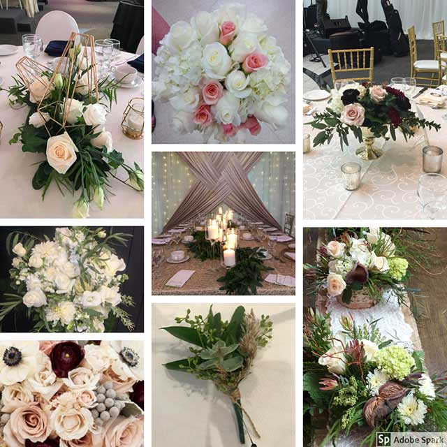 Collage of Wedding Flower Arrangements