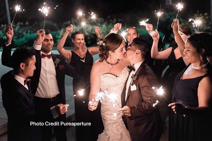 Weddings with Sparklers at Nighttime