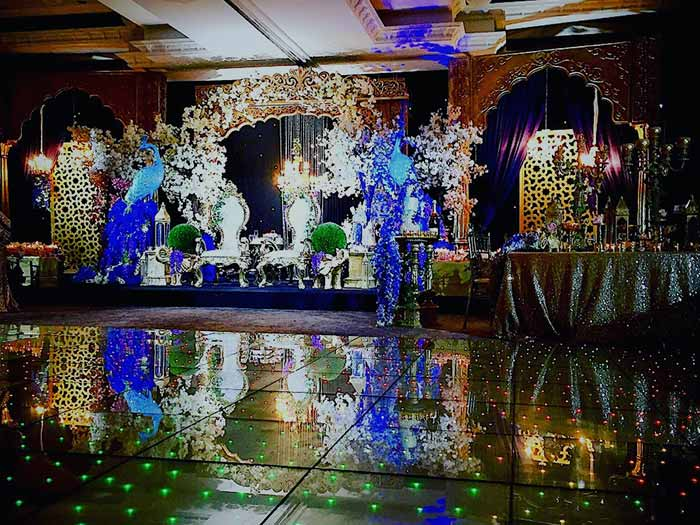 LED Dance Floor set up in venue with lavish decor