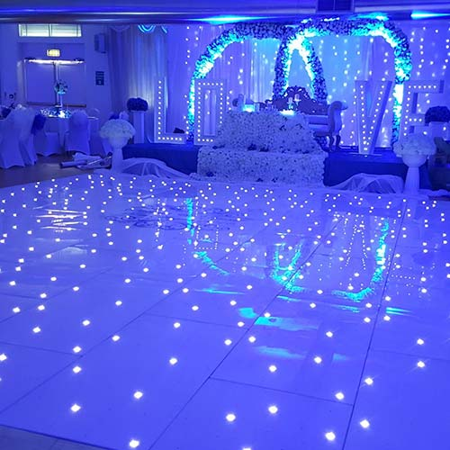 Close up of Blue LED Dance Floor