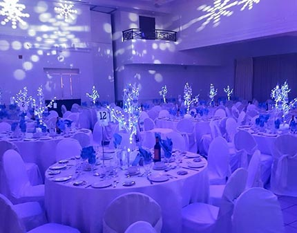 Event Room with Snowflakes illuminating the walls