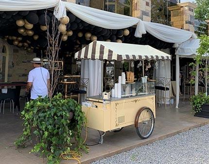 Vintage Gelato Cart set up outside home