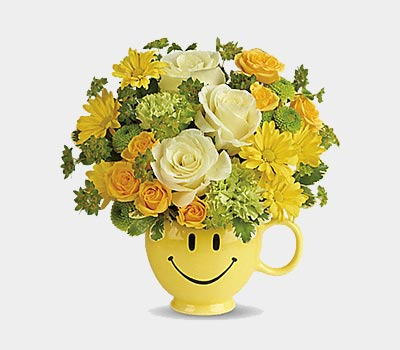 Yellow Smile Vase with Flowers