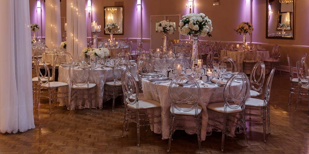 Inside of Venue with Reception dinner tables