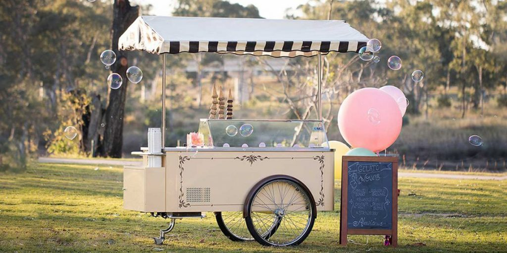 Vintage Gelato Cart set up in park