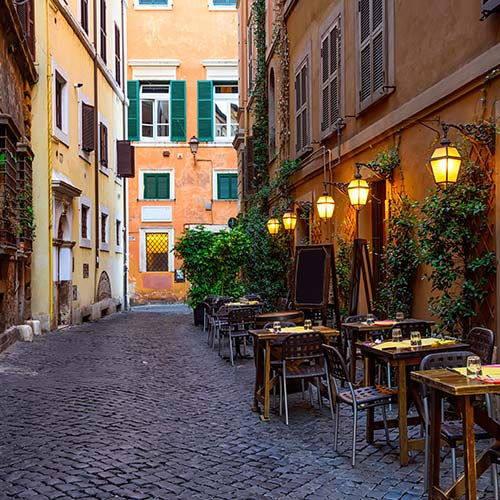 Streets of Italy as a backdrop