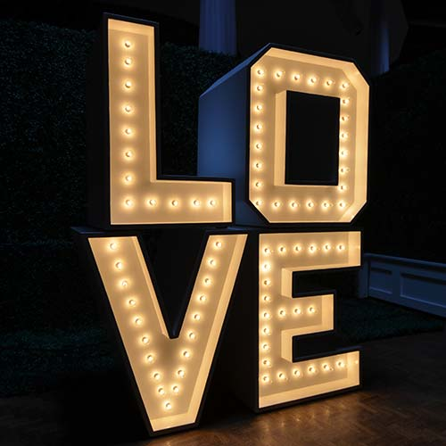 Stackable Marquee Love Letters with lights