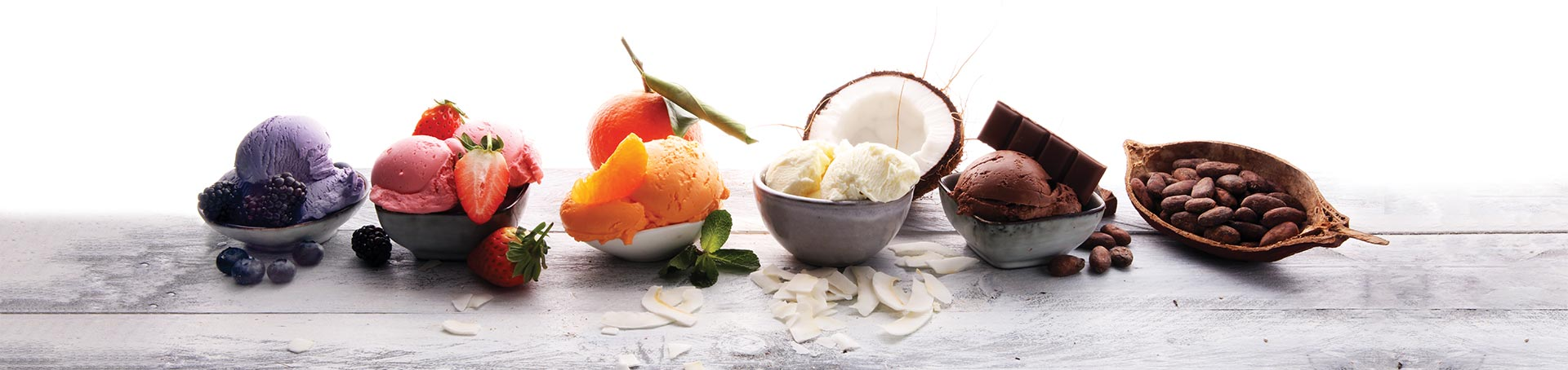Authentic Italian Gelato served with fruit in bowls
