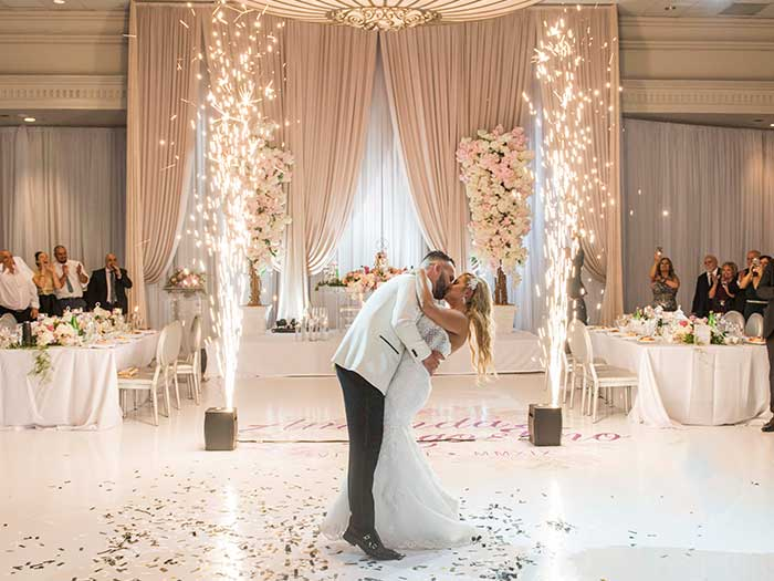 Wedding Couple's Fist Dance with Sparklers