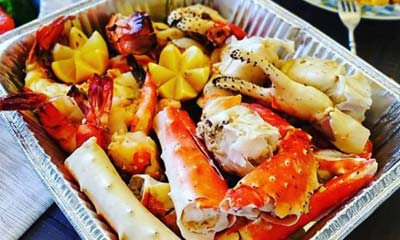 Seafood in a Foil Container
