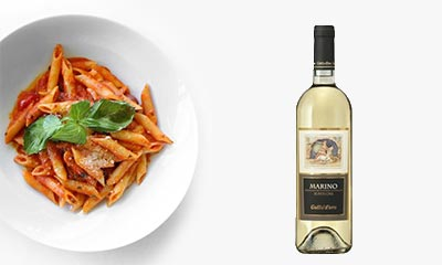 Bowl of Pasta with Wine Bottle