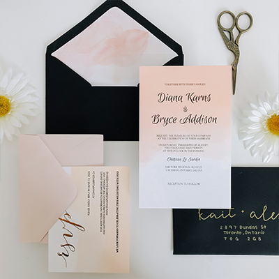 Custom Wedding Invitation Set by Junipr Designs