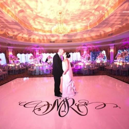 Bride and Groom kissing over Vinyl Wedding Floor Wrap